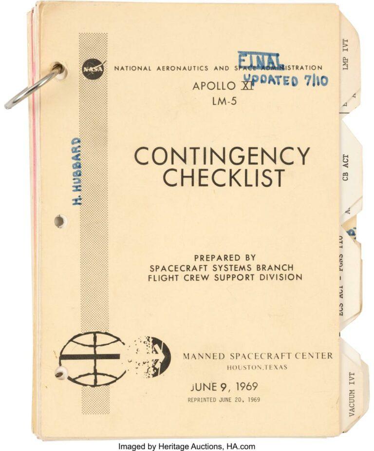 Apollo XI LM-5 Contingency Checklist
