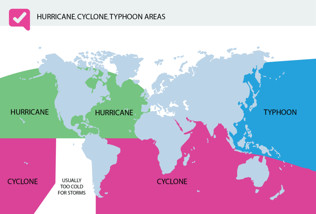 Hurricane, Cyclone, Typhoon Areas